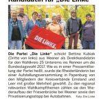 """""""Kandidatin für DIE LINKE"""" / Ems-Zeitung, 21.05.2017"""